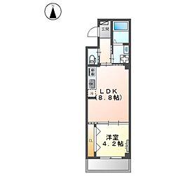 堺市堺区中三国ヶ丘町賃貸マンション新築工事 2階1LDKの間取り