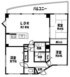 エスパシオ西田辺[2階]の間取り