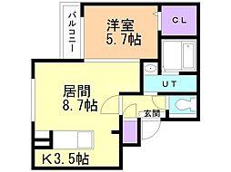 JR函館本線 手稲駅 徒歩8分の賃貸マンション 3階1LDKの間取り