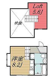 JR京葉線 稲毛海岸駅 徒歩14分の賃貸アパート 2階ワンルームの間取り