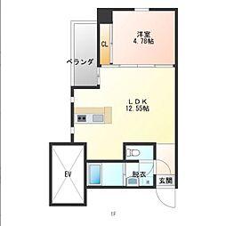 仮)おおひら共同住宅 2階1DKの間取り