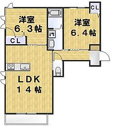 ファミールコート 松葉 1階2LDKの間取り