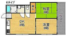 井下カウベル帝塚山[2階]の間取り