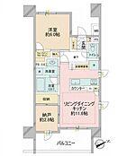 1SLDKの間取り図。9階・角部屋です。