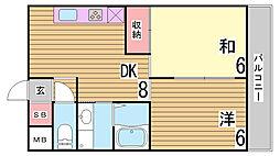 藤原マンション[402号室]の間取り