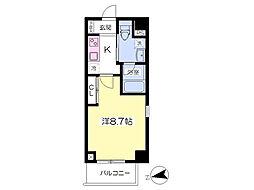 都営大江戸線 赤羽橋駅 徒歩4分の賃貸マンション 5階1Kの間取り