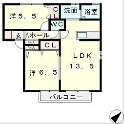 滋賀県野洲市六条の賃貸アパートの間取り