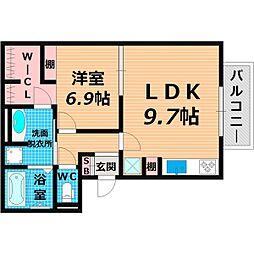 Osaka Metro長堀鶴見緑地線 今福鶴見駅 徒歩11分の賃貸マンション 2階1LDKの間取り