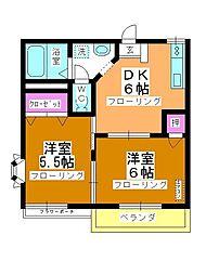 第5中平野ハウス[203号室]の間取り
