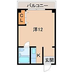 Uビル 3階ワンルームの間取り