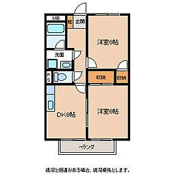 長野県飯田市大瀬木の賃貸アパートの間取り