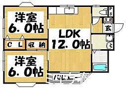 福岡県大野城市曙町3丁目の賃貸アパートの間取り