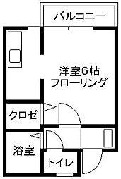福岡県福岡市中央区黒門の賃貸アパートの間取り