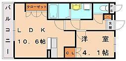 カーサヴィバーチェ[2階]の間取り