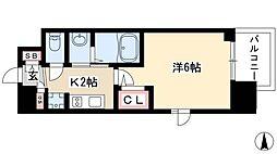 エステムコート名古屋栄プレシャス 3階1Kの間取り