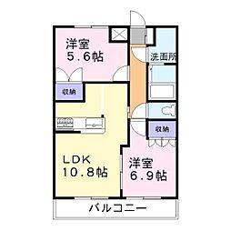 兵庫県高砂市曽根町の賃貸アパートの間取り