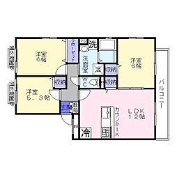 リッツ・ハウス[3階]の間取り