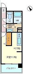 仙台市営南北線 五橋駅 徒歩15分の賃貸マンション 8階ワンルームの間取り