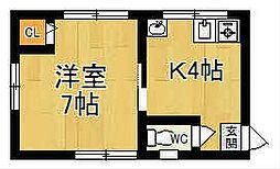 奈良県奈良市中筋町の賃貸アパートの間取り