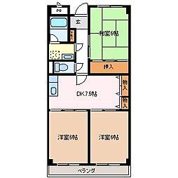 スカイパーク早川[3階]の間取り