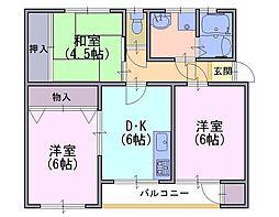 長岡天神ハイツ 14棟406号[4階]の間取り