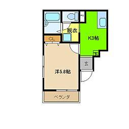埼玉県川越市的場北の賃貸マンションの間取り