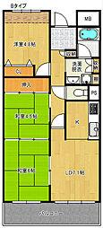 グランデージ住之江[5階]の間取り