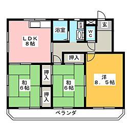 本多マンション駅西[4階]の間取り