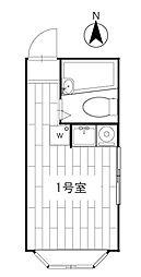 プラザUSA初台 2階ワンルームの間取り