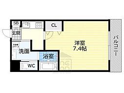 JR大阪環状線 京橋駅 徒歩9分の賃貸マンション 2階1Kの間取り