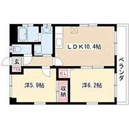 サンパーク春田 3階2LDKの間取り