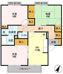 ヴァンベール東川口 VI[102号室]の間取り
