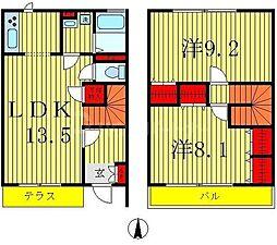 つくばエクスプレス 六町駅 徒歩23分の賃貸テラスハウス 1階2LDKの間取り
