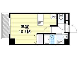 紺屋スカイマンション参番館 4階ワンルームの間取り