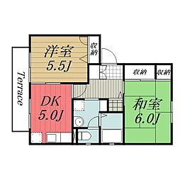 千葉県成田市公津の杜1丁目の賃貸アパートの間取り