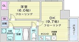 グラン・シェーヌ八幡 7階1DKの間取り
