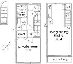 東京メトロ南北線 白金台駅 徒歩8分の賃貸アパート 2階1LDKの間取り