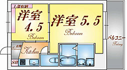 兵庫県神戸市長田区雲雀ケ丘3丁目の賃貸マンションの間取り