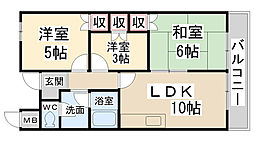 ハイツ竹田[3階]の間取り