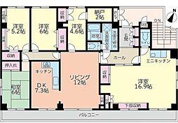ハイアール富田[4階]の間取り
