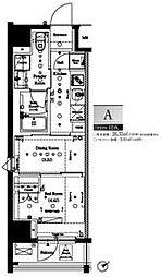 都営大江戸線 門前仲町駅 徒歩5分の賃貸マンション 10階1DKの間取り