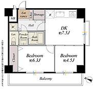 間取り図/南西角部屋のため、ダイニングキッチンにも各居室にも採光が確保されています