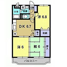 岡山県総社市総社3丁目の賃貸マンションの間取り