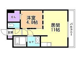 セルベッサ札幌レジデンス 7階1LDKの間取り