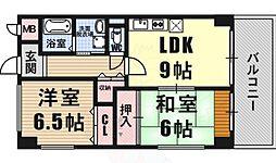 福本ハーバービュースクエア 3階2LDKの間取り