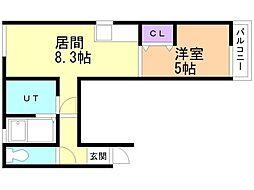 マルチュウマンション 2階1LDKの間取り
