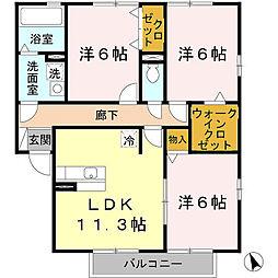 ラッフィナート A[2階]の間取り