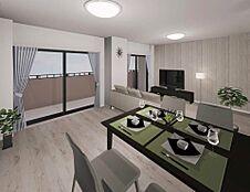 床材と建具はスタイリッシュな印象のカラーで落ち着きある大人の空間を演出。LDは2面から光が差込み、通風性にも優れた居心地の良い空間になっている