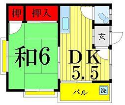 千花荘[101号室]の間取り