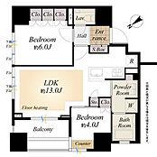 間取り図/専有面積54.04平米の2LDK、リビングルームに床暖房付です